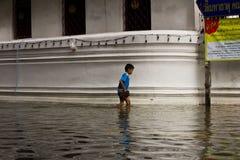 pojke översvämmad wallking fotografering för bildbyråer