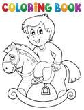 Pojke för färgläggningbok på att vagga hästen stock illustrationer
