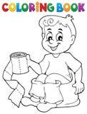 Pojke för färgläggningbok på potta royaltyfri illustrationer