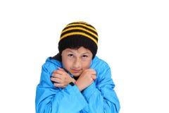 Pojke för kallt väder Arkivfoto