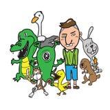 Pojke för monsterfrämlingdjur Royaltyfria Bilder