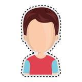 Pojke för tecknad film för halv kropp för klistermärke ansiktslös med tillfällig kläder royaltyfri illustrationer