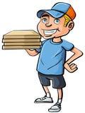 Pojke för tecknad filmpizzaleverans Arkivbild