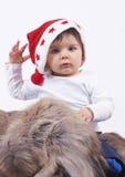 pojke gulliga små santa Arkivfoto