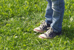 Pojke i blåa gymnastikskor och jeans som står på den soliga dagen för grönt gräs i sommar Slut upp bens skott tonad bild Arkivfoto