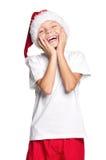 Pojke i den Santa hatten Arkivfoton