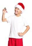 Pojke i den Santa hatten Royaltyfria Foton