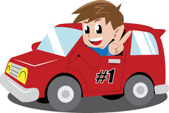 Pojke i en bil Arkivbild
