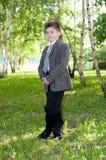 pojke i en björkskog royaltyfri bild