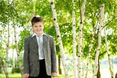 Pojke i en björkskog arkivfoto