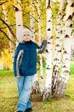 Pojke i en björkskog i höst Arkivbild