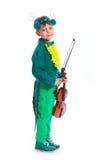 Pojke i en dräkt av gräshoppan Royaltyfria Foton
