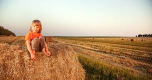 Pojke i en höstack i fältet Arkivbilder