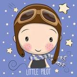 Pojke i en pilot- hatt stock illustrationer
