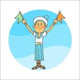 Pojke i flaggor för vågor för en sjömanform Royaltyfria Bilder
