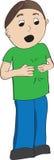 Pojke i grön skjorta som undertecknar mer Arkivbilder