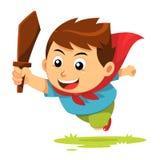 Pojke i handling Stock Illustrationer