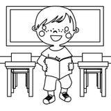 Pojke i klassrumfärgläggningsida royaltyfri illustrationer