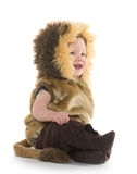 Pojke i lejondräkt arkivfoton