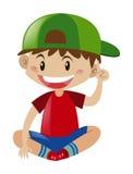 Pojke i rött skjortasammanträde royaltyfri illustrationer