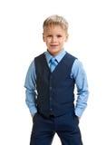 Pojke i skolalikformig fotografering för bildbyråer