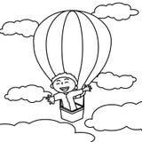 Pojke i varm airballoonfärgläggningsida vektor illustrationer