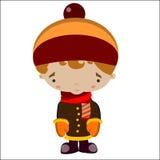 Pojke i vinterkläder Vektor Illustrationer