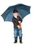 pojke isolerat le plattform paraply under Royaltyfri Bild