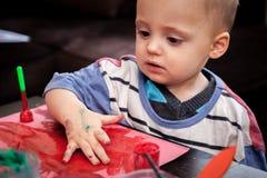 pojke little målning Royaltyfri Fotografi