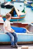pojke little malta Royaltyfri Fotografi