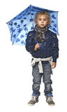 pojke little paraplybarn Royaltyfri Foto