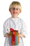 pojke little present Royaltyfri Fotografi