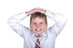 pojke little som är ondsint Fotografering för Bildbyråer