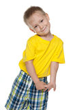 pojke little som är blyg Royaltyfri Fotografi