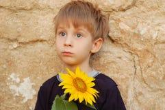 pojke little utomhus- solros Royaltyfria Foton