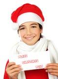 pojke lyckliga santa Fotografering för Bildbyråer