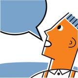 Pojke med anförandebubblan Stock Illustrationer