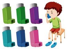 Pojke med astma med olika astmainhalatorer vektor illustrationer