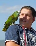 Pojke med den älsklings- papegojan Arkivbild