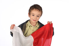 Pojke med den polska flaggan Arkivbild