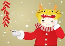 Pojke med drakehatten Royaltyfri Fotografi