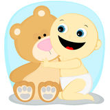 Pojke med en björn Arkivfoto