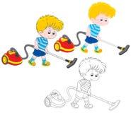 Pojke med en dammsugare stock illustrationer