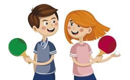 Pojke med en flicka som spelar bordtennis konkurrensidrottsman nen vektor illustrationer