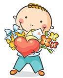 Pojke med en hjärta, blommor och gåva Fotografering för Bildbyråer