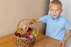 Pojke med en korg av frukter, frälsare av den Apple festmåltiddagen Royaltyfri Bild