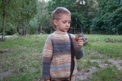 Pojke med en mutter Arkivfoton