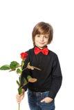 pojke med en ro Fotografering för Bildbyråer