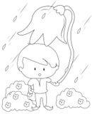 Pojke med en stor blomma under regnfärgläggningsidan Arkivbild