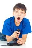 Pojke med en styrspak royaltyfri foto